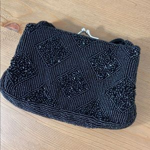 La Regale Small Black Beaded Vintage Bag
